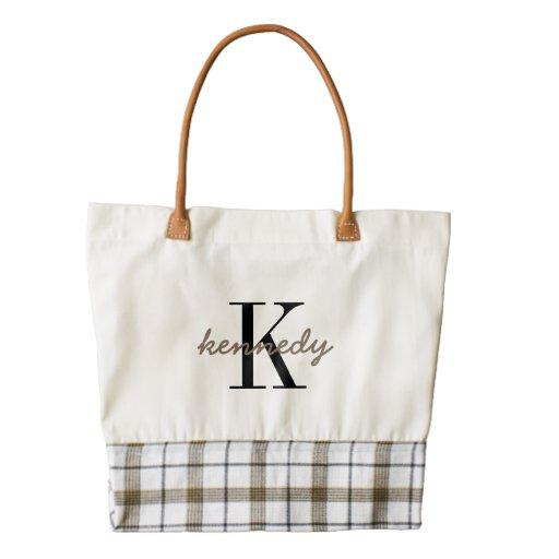 Personalized Monogram and Name Zazzle Heart Tote Bag