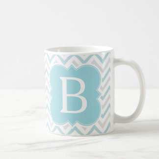 Personalized Monogram Aqua and Tan Chevron Coffee Mugs
