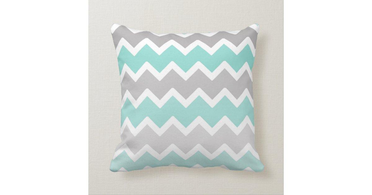 Grey Chevron Throw Pillow : Personalized Monogram Aqua Blue Gray Grey Chevron Throw Pillow Zazzle