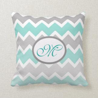 Personalized Monogram Aqua Blue Gray Grey Chevron Throw Pillow