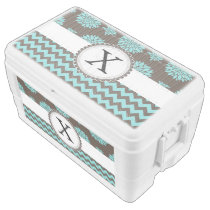 Personalized Monogram Aqua brown Floral zigzag Chest Cooler