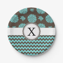 Personalized Monogram Aqua brown Floral zigzag Paper Plate