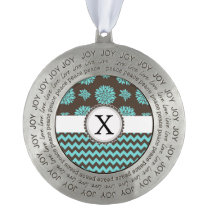 Personalized Monogram Aqua brown Floral zigzag Pewter Ornament