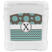 Personalized Monogram Aqua brown Floral zigzag Rolling Cooler