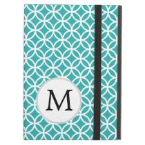 Personalized Monogram Aqua Double Rings Case For iPad Air