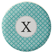 Personalized Monogram aqua double rings pattern Chocolate Dipped Oreo