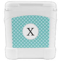 Personalized Monogram aqua double rings pattern Cooler