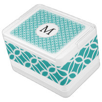 Personalized Monogram aqua double rings pattern Drink Cooler