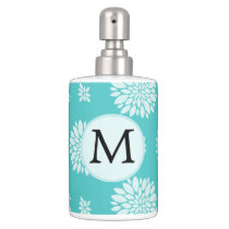 Personalized Monogram Aqua Floral pattern Bathroom Set