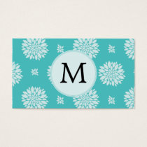 Personalized Monogram Aqua Floral pattern Business Card