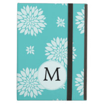 Personalized Monogram Aqua Floral pattern Cover For iPad Air