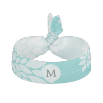 Personalized Monogram Aqua Floral pattern Elastic Hair Tie