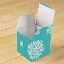 Personalized Monogram Aqua Floral pattern Favor Box