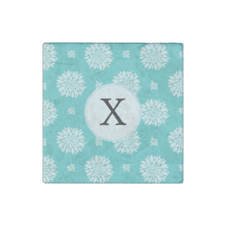 Personalized Monogram Aqua floral pattern Stone Magnet