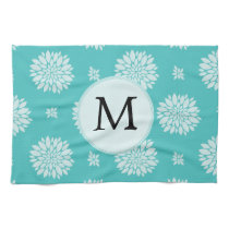 Personalized Monogram Aqua Floral pattern Hand Towels