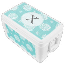 Personalized Monogram Aqua floral pattern Ice Chest