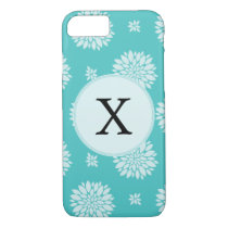 Personalized Monogram Aqua floral pattern iPhone 8/7 Case