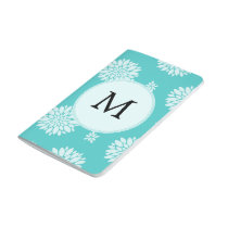 Personalized Monogram Aqua Floral pattern Journal
