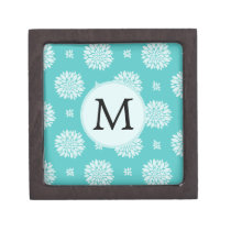 Personalized Monogram Aqua Floral pattern Keepsake Box