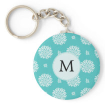 Personalized Monogram Aqua Floral pattern Keychain