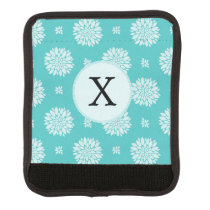 Personalized Monogram Aqua floral pattern Luggage Handle Wrap