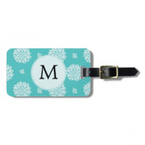 Personalized Monogram Aqua Floral pattern Luggage Tag