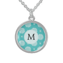 Personalized Monogram Aqua Floral pattern Sterling Silver Necklace