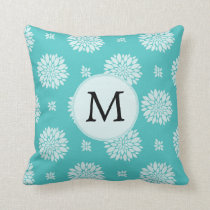 Personalized Monogram Aqua Floral pattern Throw Pillow