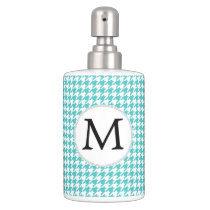 Personalized Monogram Aqua Houndstooth Pattern Bathroom Set