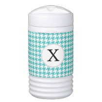 Personalized Monogram Aqua Houndstooth Pattern Beverage Cooler