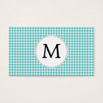 Personalized Monogram Aqua Houndstooth Pattern Business Card