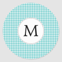 Personalized Monogram Aqua Houndstooth Pattern Classic Round Sticker