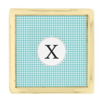 Personalized Monogram Aqua Houndstooth Pattern Gold Finish Lapel Pin