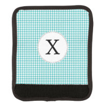 Personalized Monogram Aqua Houndstooth Pattern Handle Wrap
