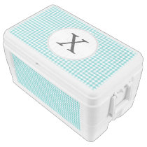 Personalized Monogram Aqua Houndstooth Pattern Ice Chest