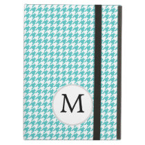 Personalized Monogram Aqua Houndstooth Pattern iPad Air Case