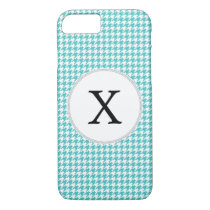 Personalized Monogram Aqua Houndstooth Pattern iPhone 7 Case
