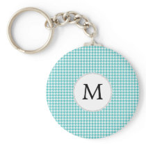 Personalized Monogram Aqua Houndstooth Pattern Keychain