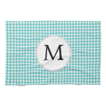 Personalized Monogram Aqua Houndstooth Pattern Kitchen Towel