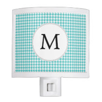 Personalized Monogram Aqua Houndstooth Pattern Night Light
