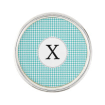 Personalized Monogram Aqua Houndstooth Pattern Pin