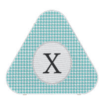 Personalized Monogram Aqua Houndstooth Pattern Speaker