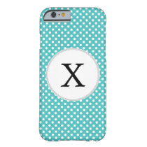 Personalized Monogram Aqua Polka Dots Pattern Barely There iPhone 6 Case