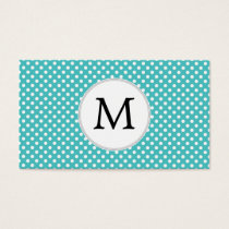 Personalized Monogram Aqua Polka Dots Pattern Business Card