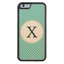 Personalized Monogram Aqua Polka Dots Pattern Carved Maple iPhone 6 Bumper Case