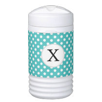 Personalized Monogram Aqua Polka Dots Pattern Cooler