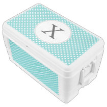 Personalized Monogram Aqua Polka Dots Pattern Ice Chest