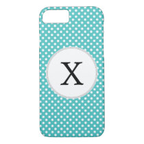 Personalized Monogram Aqua Polka Dots Pattern iPhone 7 Case