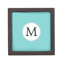 Personalized Monogram Aqua Polka Dots Pattern Keepsake Box