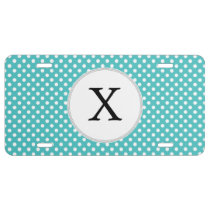 Personalized Monogram Aqua Polka Dots Pattern License Plate